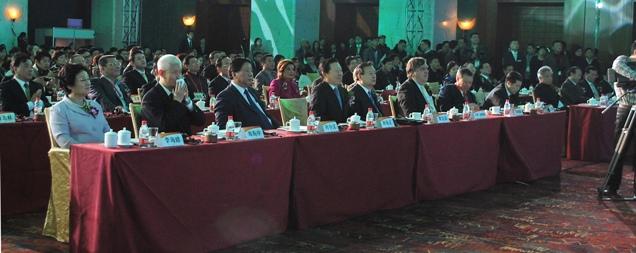 論壇現場,前排左起:李海峰、南振中、葉小文、孫家正、夏寶龍、漢斯·道維勒、郭炳湘、王建滿、蔣曉松。